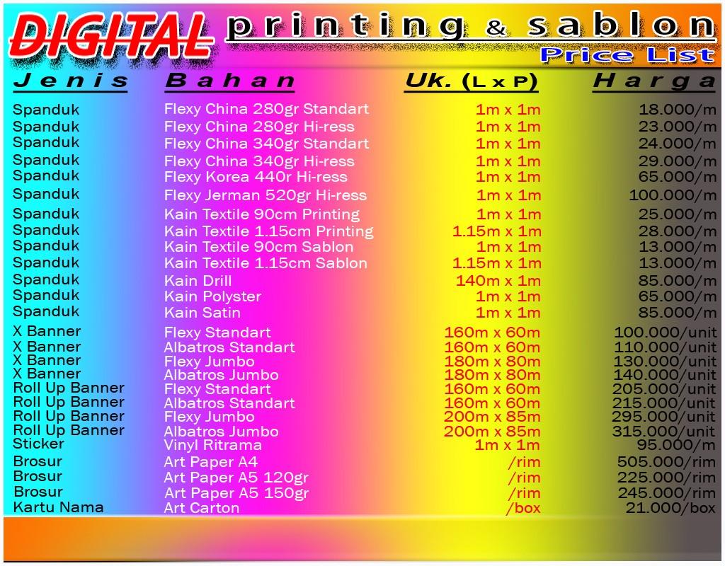 tarif digital printing